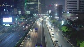 Antena strzał noc ruch drogowy na tollway zdjęcie wideo