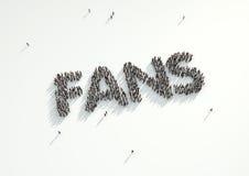 Antena strzał tłum ludzie tworzy słowo 'fan Concep Obrazy Stock