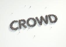 Antena strzał tłum ludzie tworzy słowo tłumu Pojęcie Fotografia Stock