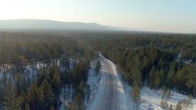 Antena strzał zimy droga w conifer lesie na tle zima krajobraz zbiory
