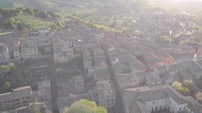 Antena strza? Średniowieczny miasto San Gimignano w Włochy Toskański miasteczko z wielką architekturą Zmierzch rama zdjęcie wideo