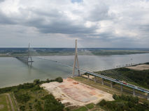 Antena strzał Normandy most, Francja Zdjęcie Royalty Free