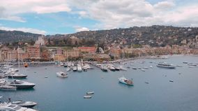 Antena strza? Santa Margarita Liguria Miasteczko w Włochy, kurortu port zbiory wideo