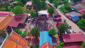Antena strzału Songkran festiwal przy Ayutthaya Tajlandia zdjęcie wideo