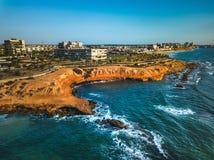 Antena strzelał Mil Palmeras seashore, Hiszpania obrazy royalty free