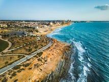 Antena strzelał Mil Palmeras seashore, Hiszpania zdjęcia royalty free