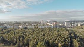 Antena strzelająca miasto od daleko Solankowa góra Soligorsk Białoruś zbiory