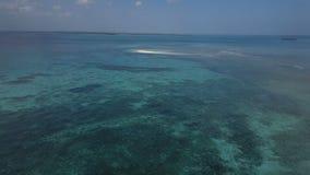Antena: Una pequeña isla, una isla perdida, agua azul hermosa, una isla para dos, Zanzíbar, Maldivas almacen de metraje de vídeo