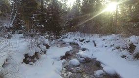 ANTENA: Voo sobre o rio no inverno vídeos de arquivo