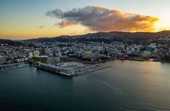 Antena, Wellington New Zealand Sunset fotografia de stock