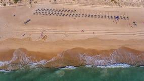 antena Widok od nieba Portugalska plaża w Algarve, Dolina De Lobo fotografia royalty free
