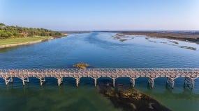 antena Widok od nieba zatoka w Ria Formosa Quinta De Lago obrazy royalty free