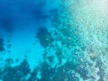 Antena wierzchołka puszka ludzie snorkeling na rafy koralowej tropikalnym morzu karaibskim, turkusowa błękitne wody Indonezja Wak obraz stock