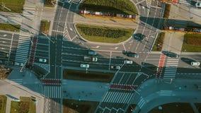 Antena wierzchołka puszka widok drogowy ruch drogowy na ważnej miasto ulicie Fotografia Stock