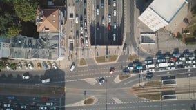 Antena wierzchołka puszka widoku czasu upływ ruchliwie miasto ulica zdjęcie wideo