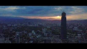 Antena wschód słońca przy Kuala Lumpur linią horyzontu zdjęcie wideo