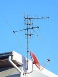 Antena y satélite Fotos de archivo