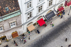 Antena zatłoczony Stephansplatz w Wiedeń Fotografia Royalty Free