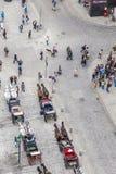 Antena zatłoczony Stephansplatz w Wiedeń z fiakers Obraz Royalty Free