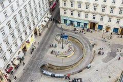 Antena zatłoczony Stephansplatz w Wiedeń z garażem Obrazy Royalty Free