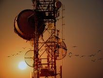 Antenas de la torre de la telecomunicación con puesta del sol Imagen de archivo libre de regalías