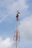 Antenas de TV del palo de la telecomunicación Imagen de archivo libre de regalías