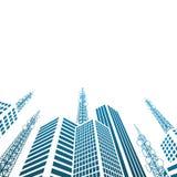 Antenas em construções na cidade Fotografia de Stock