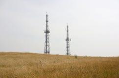 Antenas en campo cerca de Calne. Wiltshire. Inglaterra Fotos de archivo