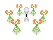 Antenas estilizados em torno da pessoa 3d pequena. Fotografia de Stock Royalty Free
