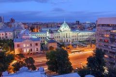 Antenn över Bucharest, Rumänien fotografering för bildbyråer
