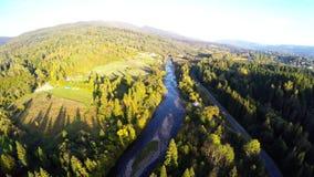Antenn över floden i skog arkivfilmer