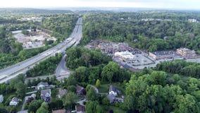 Antenn av blåttrutten för mellanstatlig huvudväg 476 i den Radnor församlingen, Villanova, Pennsylvania arkivfilmer
