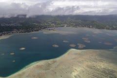 Antenn av den östliga sidan Oahu Hawaii arkivfoto