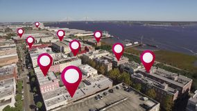 Antenn av den i stadens centrum charlestonen, South Carolina GPS markörer lager videofilmer