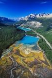 Antenn av den Saskatchewan floden, Alberta, Kanada royaltyfri bild
