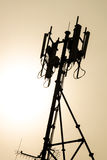 Antenn av det cell- systemet under solnedgångsikt Royaltyfria Foton