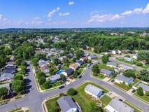 Antenn av en grannskap i Parkville i Baltimore County, Maryl arkivfoto