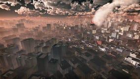 Antenn av flygplanet som kraschar i skyskrapastad Royaltyfri Foto