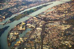Antenn av hamnen i Mainz Royaltyfri Fotografi