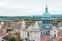 Antenn av historiska i stadens centrum Harrisburg, Pennsylvania bredvid Royaltyfria Bilder