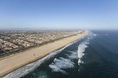 Antenn av Huntington Beach i sydliga Kalifornien Royaltyfri Fotografi
