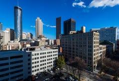 Antenn av i stadens centrum Atlanta, Georgia arkivbild
