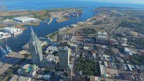 Antenn av i stadens centrum mobila Alabama Arkivfoton