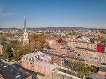 Antenn av i stadens centrum York, Pennsylvania bredvid de historiska distrna Royaltyfria Bilder