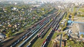Antenn av järnvägnavet eller järnväg slutlig statisk fågel-öga längd i fot räknat stock video