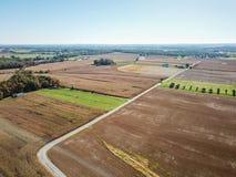 Antenn av jordbruksmark i Dover, Pennsylvania precis söder av Harrisbu Fotografering för Bildbyråer