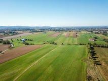 Antenn av jordbruksmark i Dover, Pennsylvania precis söder av Harrisbu Royaltyfri Foto