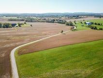 Antenn av jordbruksmark i Dover, Pennsylvania precis söder av Harrisbu Royaltyfri Bild