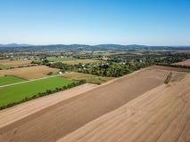 Antenn av jordbruksmark i Dover, Pennsylvania precis söder av Harrisbu Arkivfoton