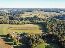 Antenn av Loganville, Pennsylvania runt om sjön Redman och sjö W Arkivfoto